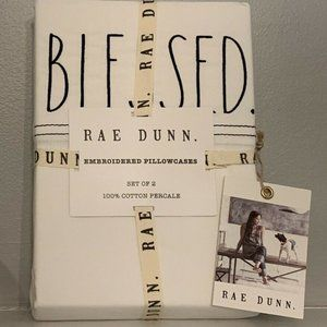 """NWT RAE DUNN """"Blessed"""" Embroidered Pillowcases 2"""